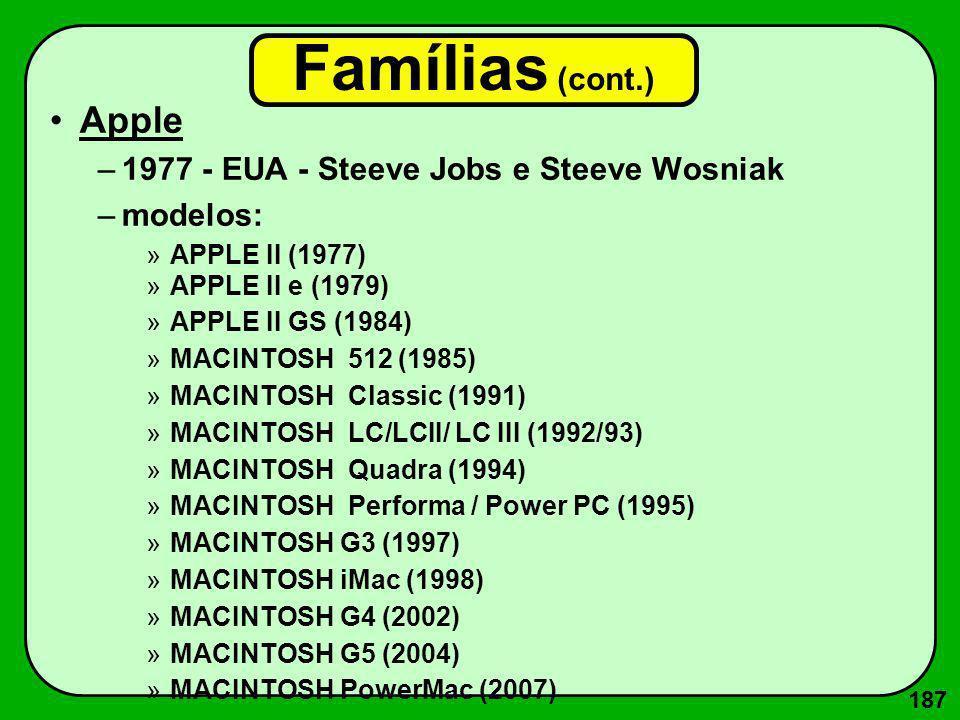 188 Famílias (cont.) IBM/PC –1981 - EUA - Personal Computer - IBM –modelos brasileiros: mais de 400 –modelos: »PC (1981) »PC/XT (eXtended Technology) (1983) »PC/AT (Advanced Technology) (1985) »PC/386 (1987) »PC/486 (1992) »PC/Pentium (1994), MMX (1996) »PC/Pentium II (1997), Pentium III (1999), Pentium IV (2001) »PC/Core 2 (2007) »PC/Ultrabook (2011)