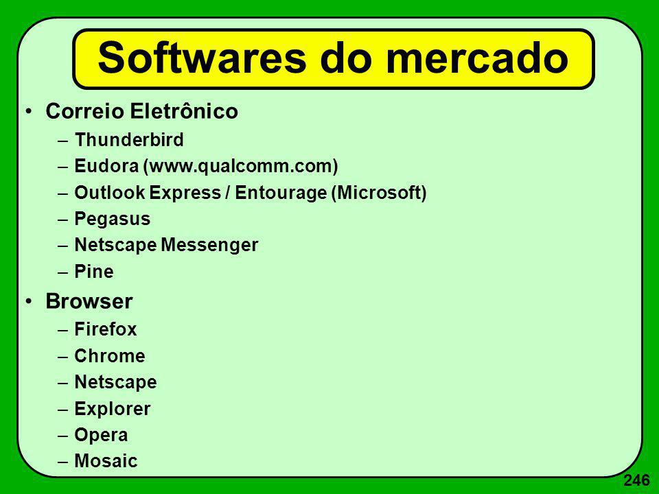 246 Softwares do mercado Correio Eletrônico –Thunderbird –Eudora (www.qualcomm.com) –Outlook Express / Entourage (Microsoft) –Pegasus –Netscape Messen
