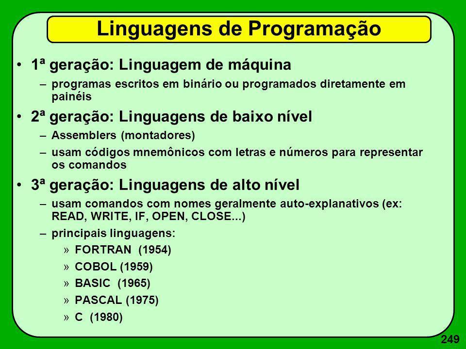 249 Linguagens de Programação 1ª geração: Linguagem de máquina –programas escritos em binário ou programados diretamente em painéis 2ª geração: Lingua