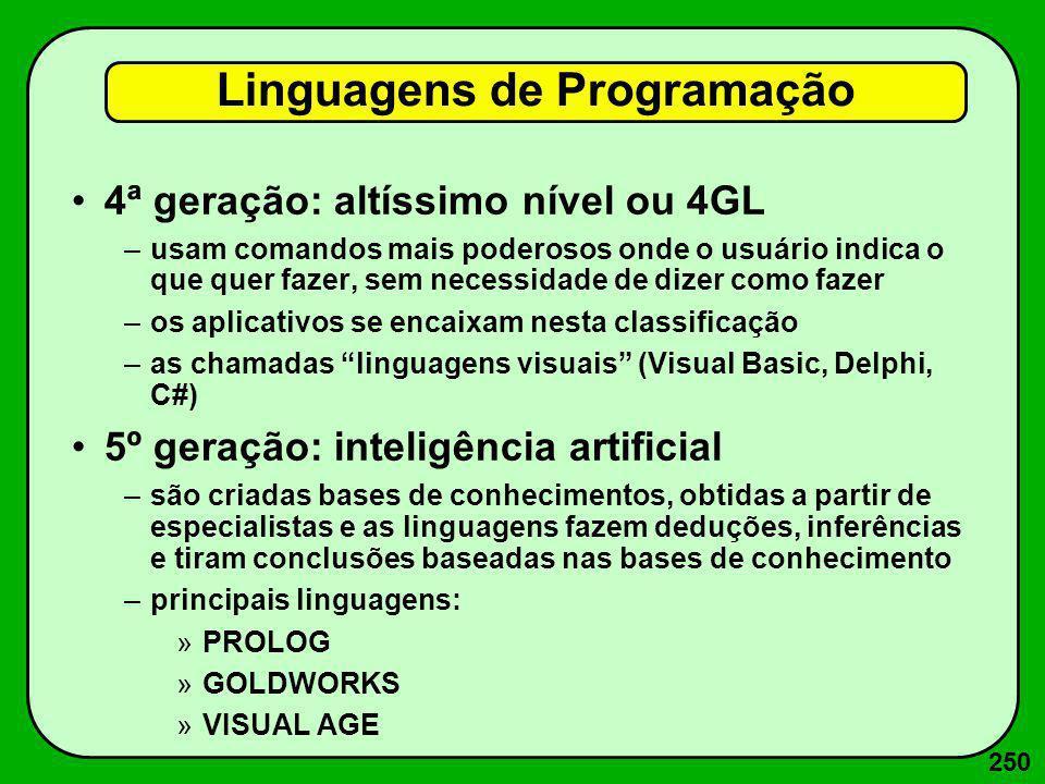 250 4ª geração: altíssimo nível ou 4GL –usam comandos mais poderosos onde o usuário indica o que quer fazer, sem necessidade de dizer como fazer –os a