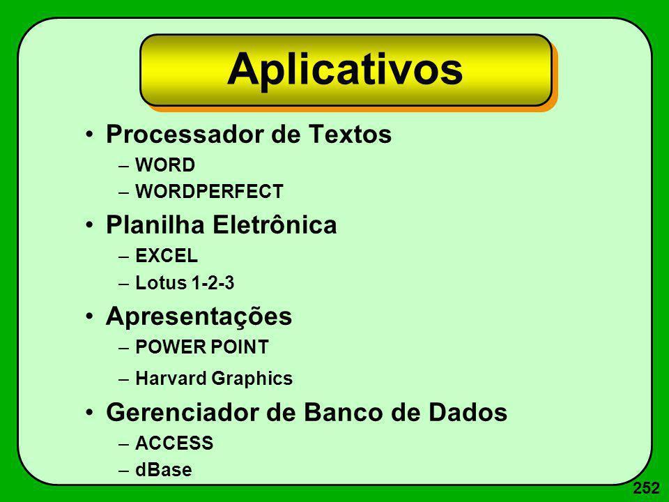 252 Aplicativos Processador de Textos –WORD –WORDPERFECT Planilha Eletrônica –EXCEL –Lotus 1-2-3 Apresentações –POWER POINT –Harvard Graphics Gerencia