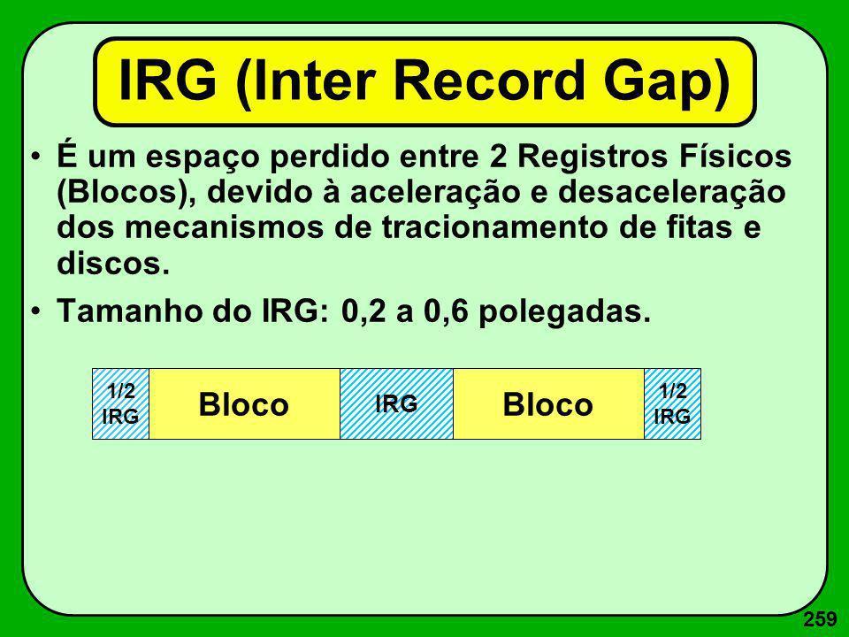 259 IRG (Inter Record Gap) É um espaço perdido entre 2 Registros Físicos (Blocos), devido à aceleração e desaceleração dos mecanismos de tracionamento
