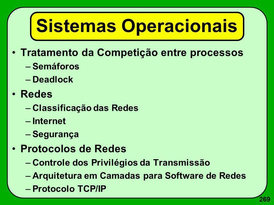 269 Sistemas Operacionais Tratamento da Competição entre processos –Semáforos –Deadlock Redes –Classificação das Redes –Internet –Segurança Protocolos