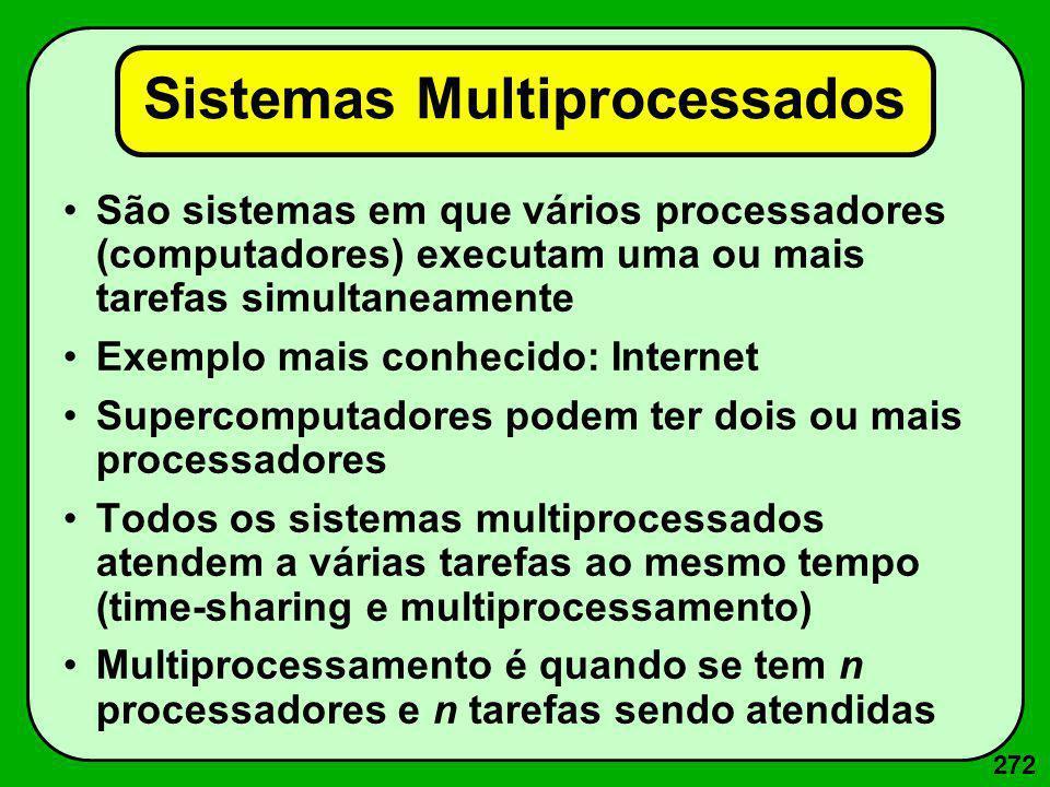 272 Sistemas Multiprocessados São sistemas em que vários processadores (computadores) executam uma ou mais tarefas simultaneamente Exemplo mais conhec
