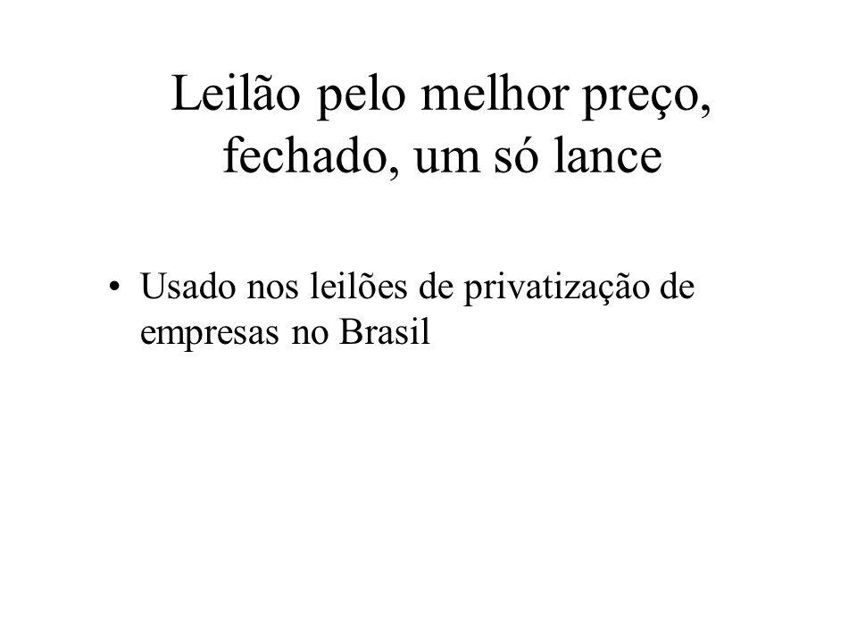 Leilão pelo melhor preço, fechado, um só lance Usado nos leilões de privatização de empresas no Brasil