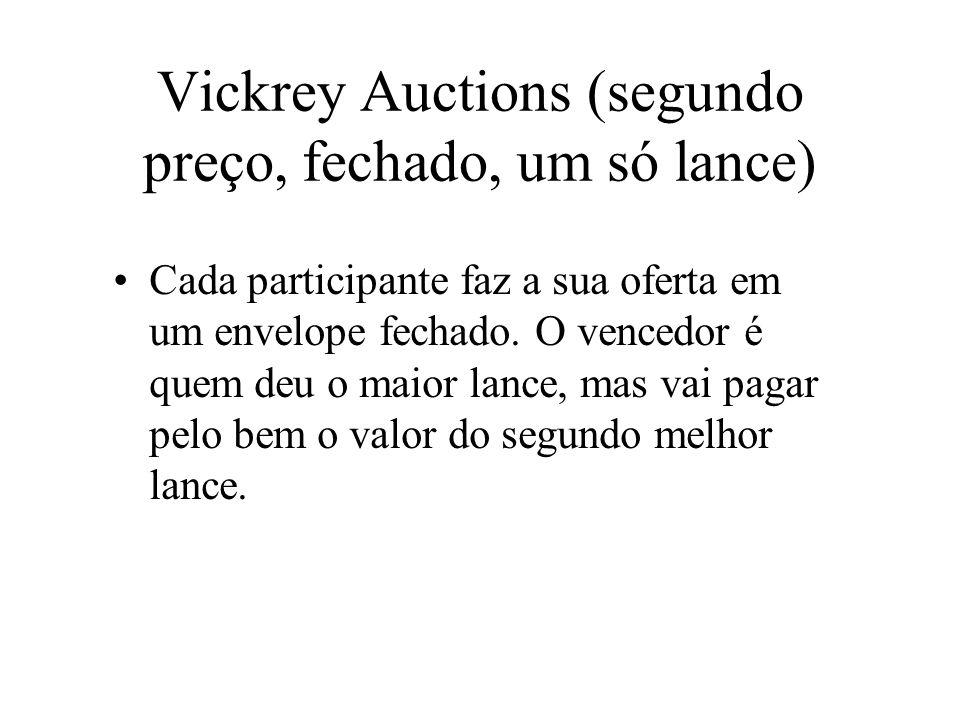 Vickrey Auctions (segundo preço, fechado, um só lance) Cada participante faz a sua oferta em um envelope fechado. O vencedor é quem deu o maior lance,