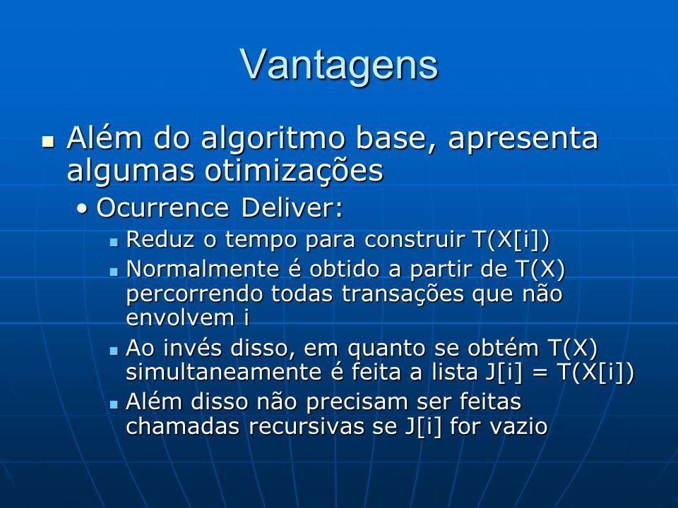 Vantagens Além do algoritmo base, apresenta algumas otimizações Além do algoritmo base, apresenta algumas otimizações Ocurrence Deliver:Ocurrence Deliver: Reduz o tempo para construir T(X[i]) Reduz o tempo para construir T(X[i]) Normalmente é obtido a partir de T(X) percorrendo todas transações que não envolvem i Normalmente é obtido a partir de T(X) percorrendo todas transações que não envolvem i Ao invés disso, em quanto se obtém T(X) simultaneamente é feita a lista J[i] = T(X[i]) Ao invés disso, em quanto se obtém T(X) simultaneamente é feita a lista J[i] = T(X[i]) Além disso não precisam ser feitas chamadas recursivas se J[i] for vazio Além disso não precisam ser feitas chamadas recursivas se J[i] for vazio
