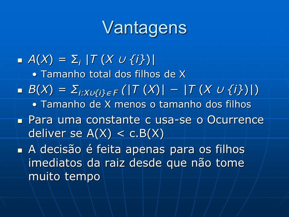 Vantagens A(X) = Σ i |T (X {i})| A(X) = Σ i |T (X {i})| Tamanho total dos filhos de XTamanho total dos filhos de X B(X) = Σ i:X {i} F (|T (X)| |T (X {i})|) B(X) = Σ i:X {i} F (|T (X)| |T (X {i})|) Tamanho de X menos o tamanho dos filhosTamanho de X menos o tamanho dos filhos Para uma constante c usa-se o Ocurrence deliver se A(X) < c.B(X) Para uma constante c usa-se o Ocurrence deliver se A(X) < c.B(X) A decisão é feita apenas para os filhos imediatos da raiz desde que não tome muito tempo A decisão é feita apenas para os filhos imediatos da raiz desde que não tome muito tempo