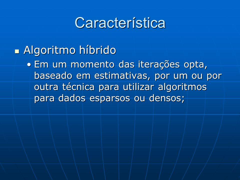 Característica Algoritmo híbrido Algoritmo híbrido Em um momento das iterações opta, baseado em estimativas, por um ou por outra técnica para utilizar
