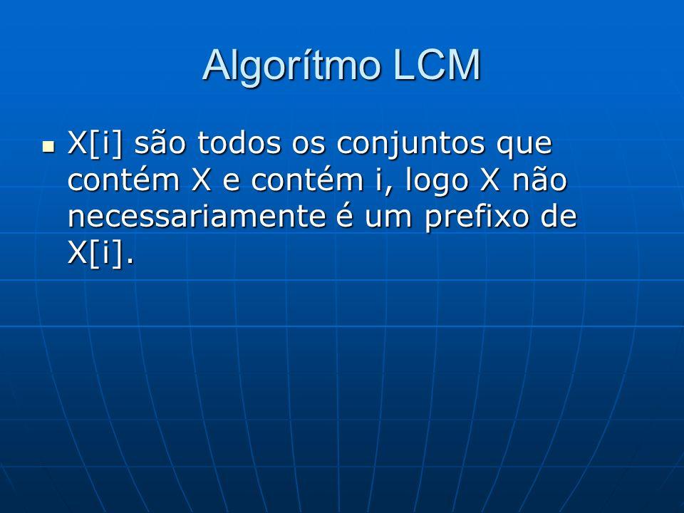 Algorítmo LCM X[i] são todos os conjuntos que contém X e contém i, logo X não necessariamente é um prefixo de X[i]. X[i] são todos os conjuntos que co