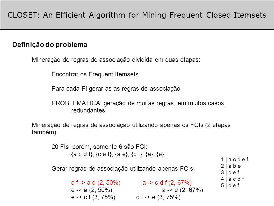 CLOSET: An Efficient Algorithm for Mining Frequent Closed Itemsets Definição do problema Mineração de regras de associação dividida em duas etapas: Encontrar os Frequent Itemsets Para cada FI gerar as as regras de associação PROBLEMÁTICA: geração de muitas regras, em muitos casos, redundantes Mineração de regras de associação utilizando apenas os FCIs (2 etapas também): 20 FIs porém, somente 6 são FCI: {a c d f}, {c e f}, {a e}, {c f}, {a}, {e} Gerar regras de associação utilizando apenas FCIs: c f -> a d (2, 50%) a -> c d f (2, 67%) e -> a (2, 50%) a -> e (2, 67%) e -> c f (3, 75%) c f -> e (3, 75%) 1 | a c d e f 2 | a b e 3 | c e f 4 | a c d f 5 | c e f