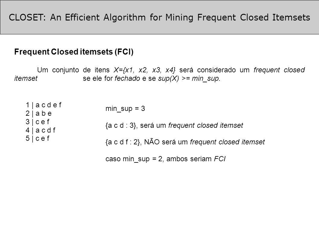 CLOSET: An Efficient Algorithm for Mining Frequent Closed Itemsets Otimizações (cont.) Otimização 1 (cont.): TDB|d : {cefa}, {cfa} TDB|a: {cef}, {cf}, {e} TDB|f: {ce},{c} TDB|e: {c} TDB|c: {c} root C : 4 E : 3 F : 3 A : 1 D : 1 F : 1 A : 1 D : 1 E : 3 A : 1