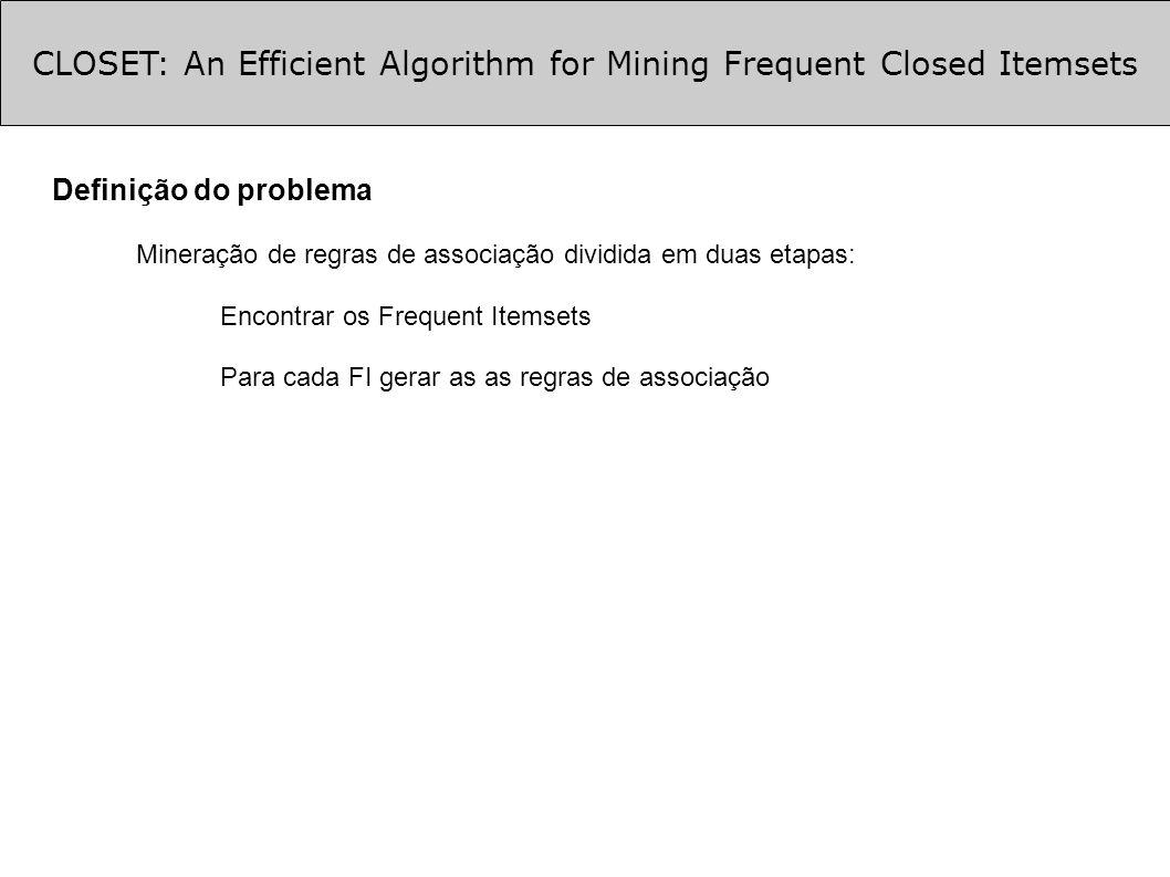 CLOSET: An Efficient Algorithm for Mining Frequent Closed Itemsets Otimizações (cont.) Otimização 4: poda na busca de FCIs Dois conj.
