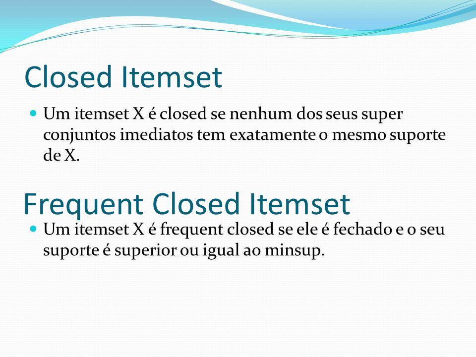 Closed Itemset Um itemset X é closed se nenhum dos seus super conjuntos imediatos tem exatamente o mesmo suporte de X. Um itemset X é frequent closed