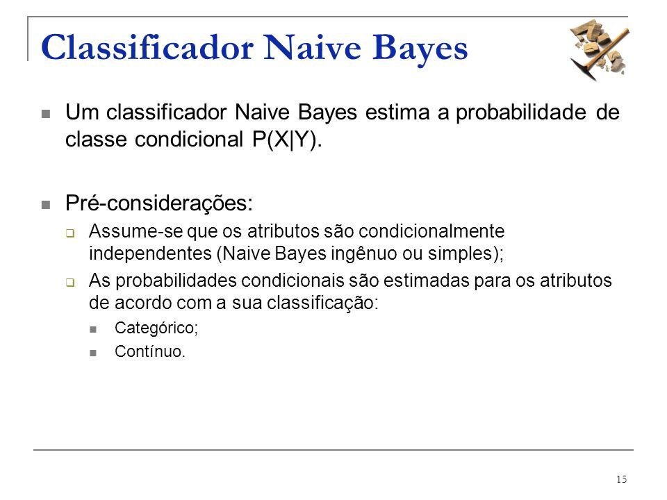 15 Classificador Naive Bayes Um classificador Naive Bayes estima a probabilidade de classe condicional P(X|Y). Pré-considerações: Assume-se que os atr