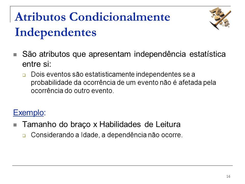 16 Atributos Condicionalmente Independentes São atributos que apresentam independência estatística entre si: Dois eventos são estatisticamente indepen