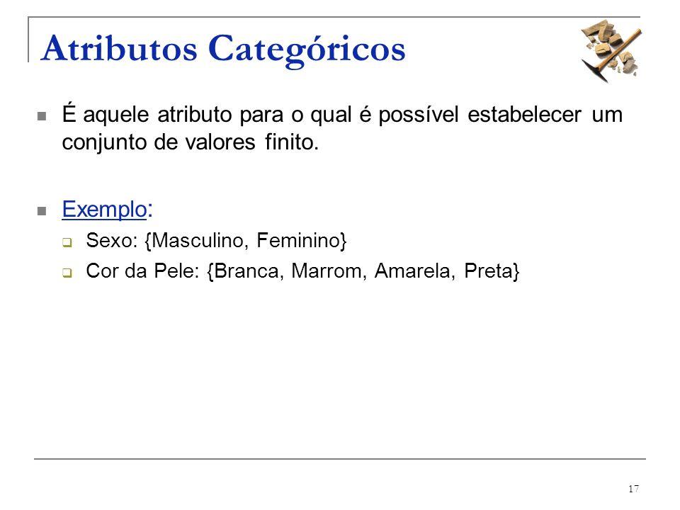17 Atributos Categóricos É aquele atributo para o qual é possível estabelecer um conjunto de valores finito. Exemplo : Sexo: {Masculino, Feminino} Cor