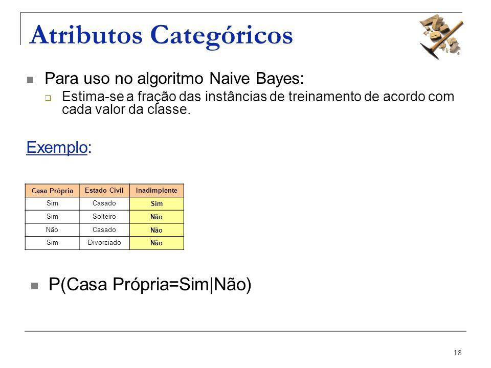 18 Atributos Categóricos Para uso no algoritmo Naive Bayes: Estima-se a fração das instâncias de treinamento de acordo com cada valor da classe. Exemp