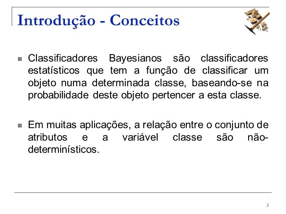3 Introdução - Conceitos Classificadores Bayesianos são classificadores estatísticos que tem a função de classificar um objeto numa determinada classe