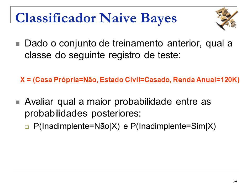 34 Classificador Naive Bayes Dado o conjunto de treinamento anterior, qual a classe do seguinte registro de teste: X = (Casa Própria=Não, Estado Civil