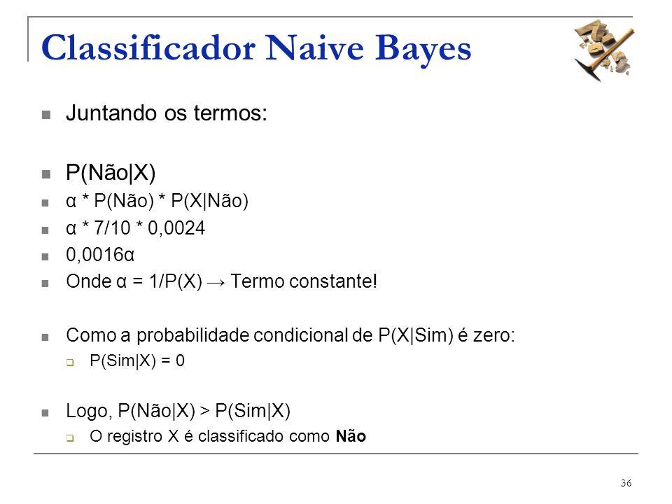 36 Classificador Naive Bayes Juntando os termos: P(Não|X) α * P(Não) * P(X|Não) α * 7/10 * 0,0024 0,0016α Onde α = 1/P(X) Termo constante! Como a prob