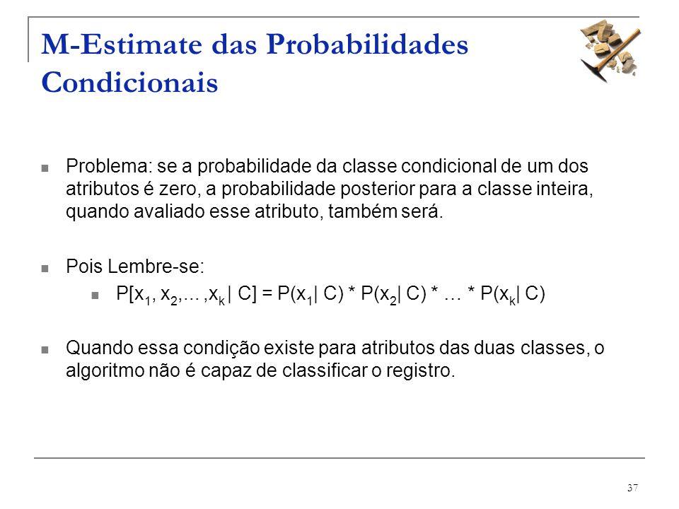 37 M-Estimate das Probabilidades Condicionais Problema: se a probabilidade da classe condicional de um dos atributos é zero, a probabilidade posterior