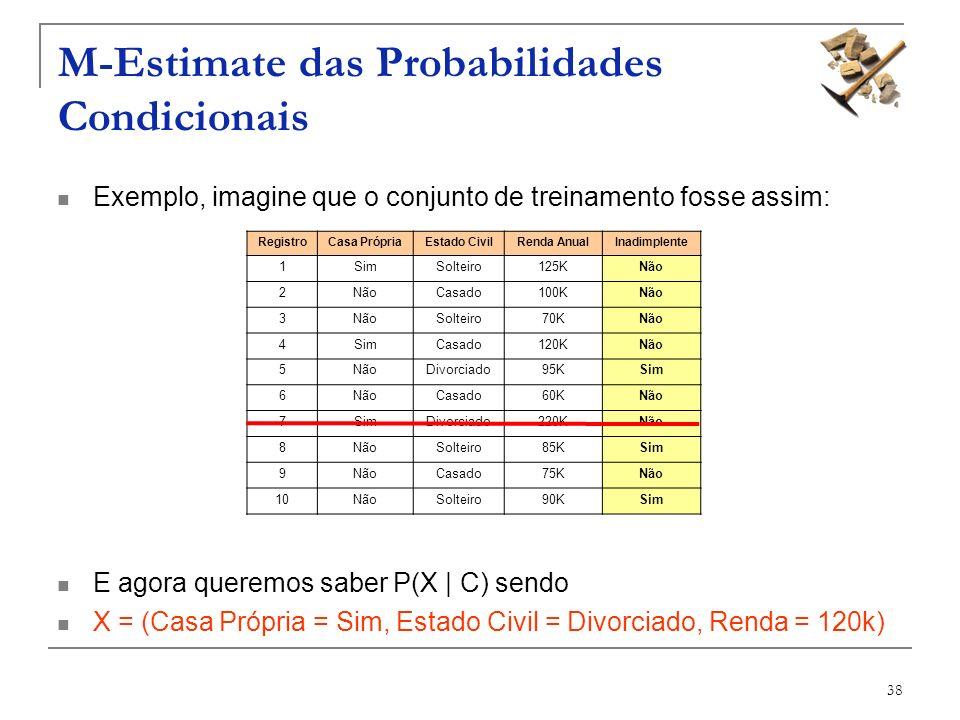 38 M-Estimate das Probabilidades Condicionais Exemplo, imagine que o conjunto de treinamento fosse assim: E agora queremos saber P(X | C) sendo X = (C