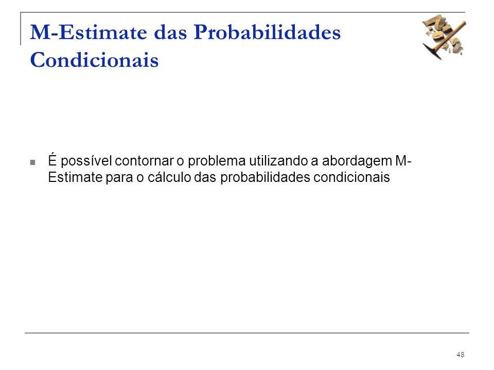 48 M-Estimate das Probabilidades Condicionais É possível contornar o problema utilizando a abordagem M- Estimate para o cálculo das probabilidades con