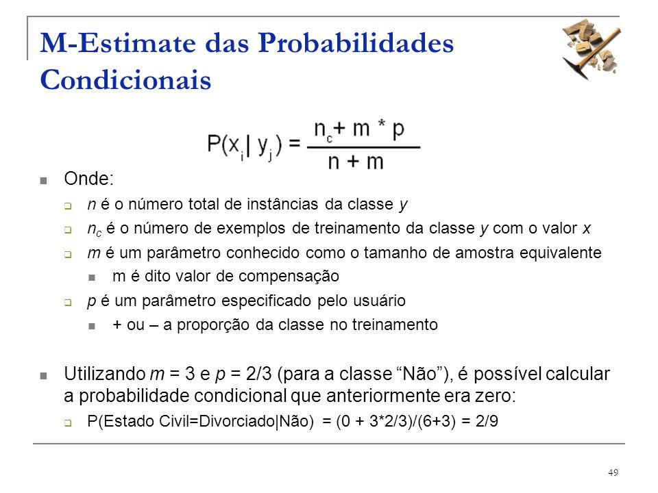 49 M-Estimate das Probabilidades Condicionais Onde: n é o número total de instâncias da classe y n c é o número de exemplos de treinamento da classe y