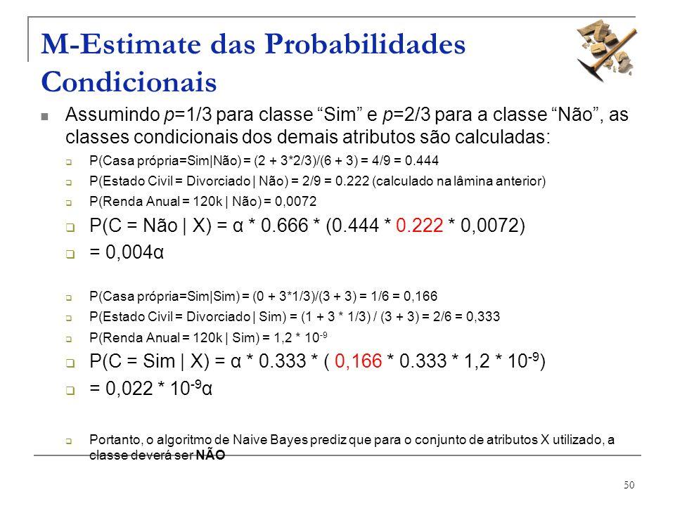 50 M-Estimate das Probabilidades Condicionais Assumindo p=1/3 para classe Sim e p=2/3 para a classe Não, as classes condicionais dos demais atributos