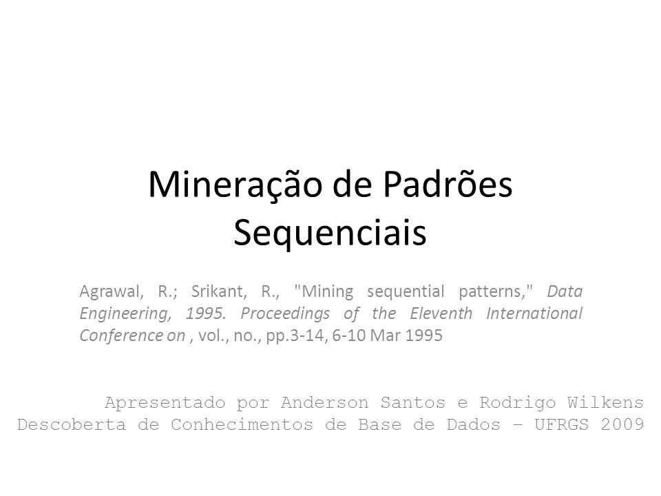 AprioriAll Continuando com o exemplo para gerar 4- sequências grandes: 4-sequence 1 2 3 4 1 2 4 3 1 3 4 5 1 3 5 4 3-sequenceSuporte 1 2 3 2 1 2 4 2 1 3 4 3 1 3 5 2 2 3 4 2 42Anderson Santos e Rodrigo Wilkens