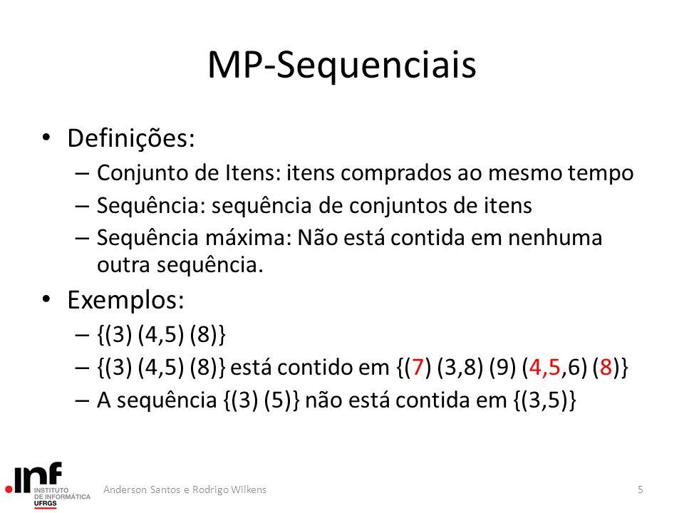 L4L4 1 2 3 4 AprioriSome Passos forward Remove as sequências sem suporte mínimo ou que são sub sequência de outra sequência L3L3 1 3 5 L2L2 4 5 Máximas 1 2 3 4 1 3 5 4 5 L1L1 1 2 3 4 5 66Anderson Santos e Rodrigo Wilkens