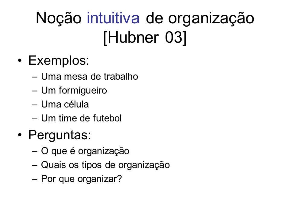 Noção intuitiva de organização [Hubner 03] Exemplos: –Uma mesa de trabalho –Um formigueiro –Uma célula –Um time de futebol Perguntas: –O que é organiz
