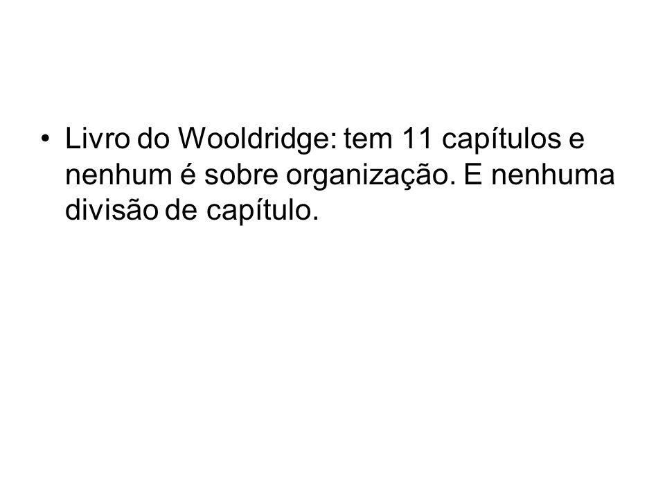 Livro do Wooldridge: tem 11 capítulos e nenhum é sobre organização. E nenhuma divisão de capítulo.