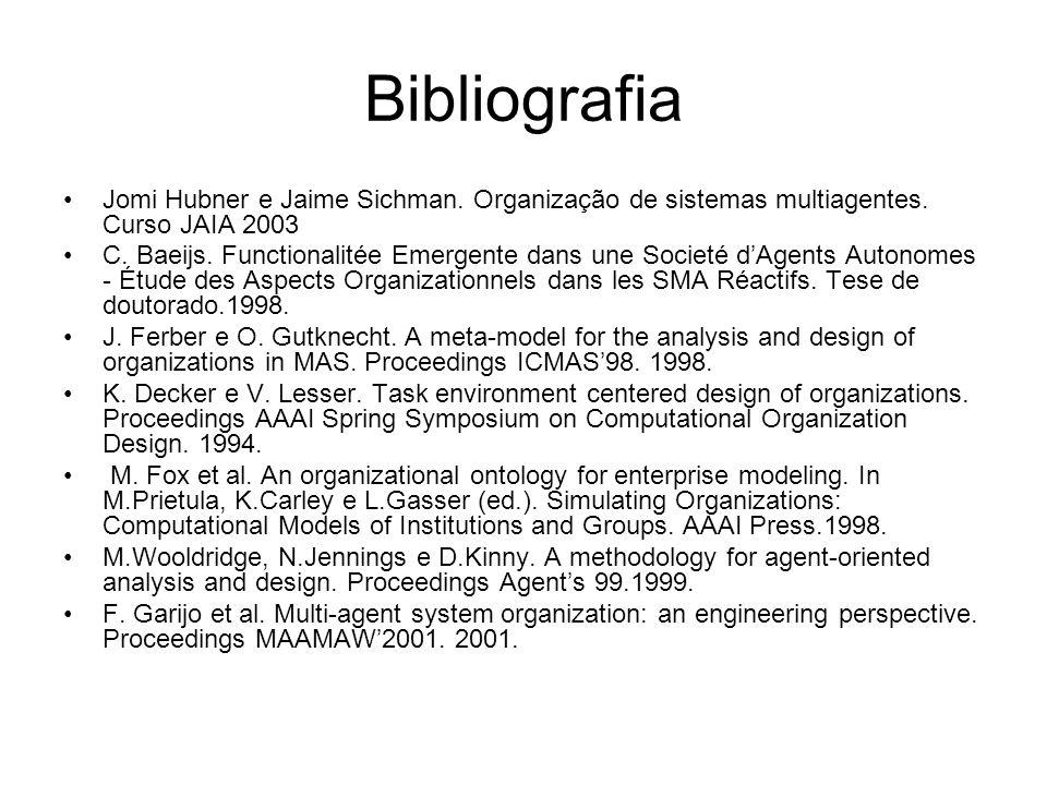 Bibliografia Jomi Hubner e Jaime Sichman. Organização de sistemas multiagentes. Curso JAIA 2003 C. Baeijs. Functionalitée Emergente dans une Societé d