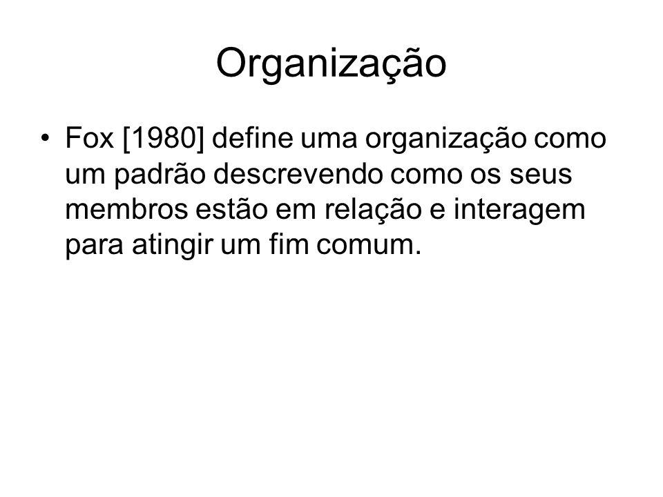 Organização Fox [1980] define uma organização como um padrão descrevendo como os seus membros estão em relação e interagem para atingir um fim comum.