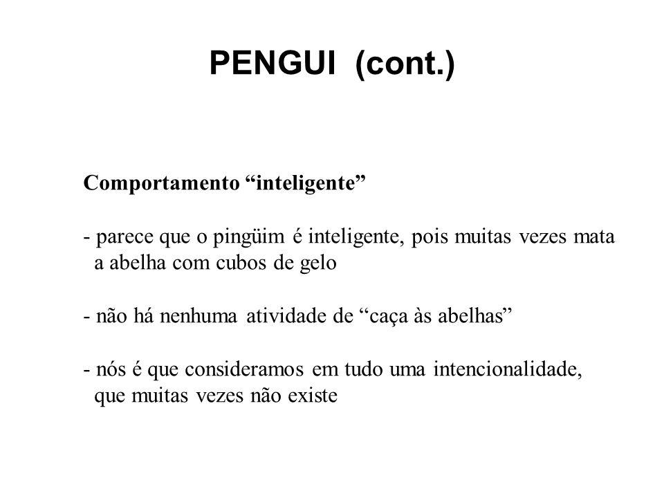 PENGUI (cont.) Comportamento inteligente - parece que o pingüim é inteligente, pois muitas vezes mata a abelha com cubos de gelo - não há nenhuma ativ