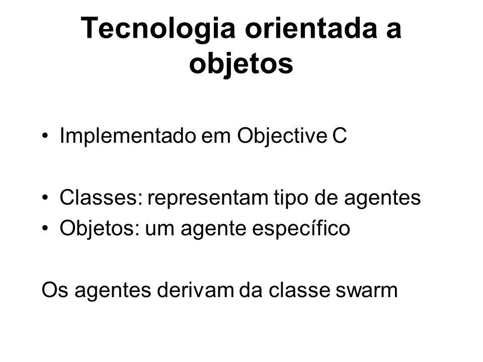 Tecnologia orientada a objetos Implementado em Objective C Classes: representam tipo de agentes Objetos: um agente específico Os agentes derivam da cl