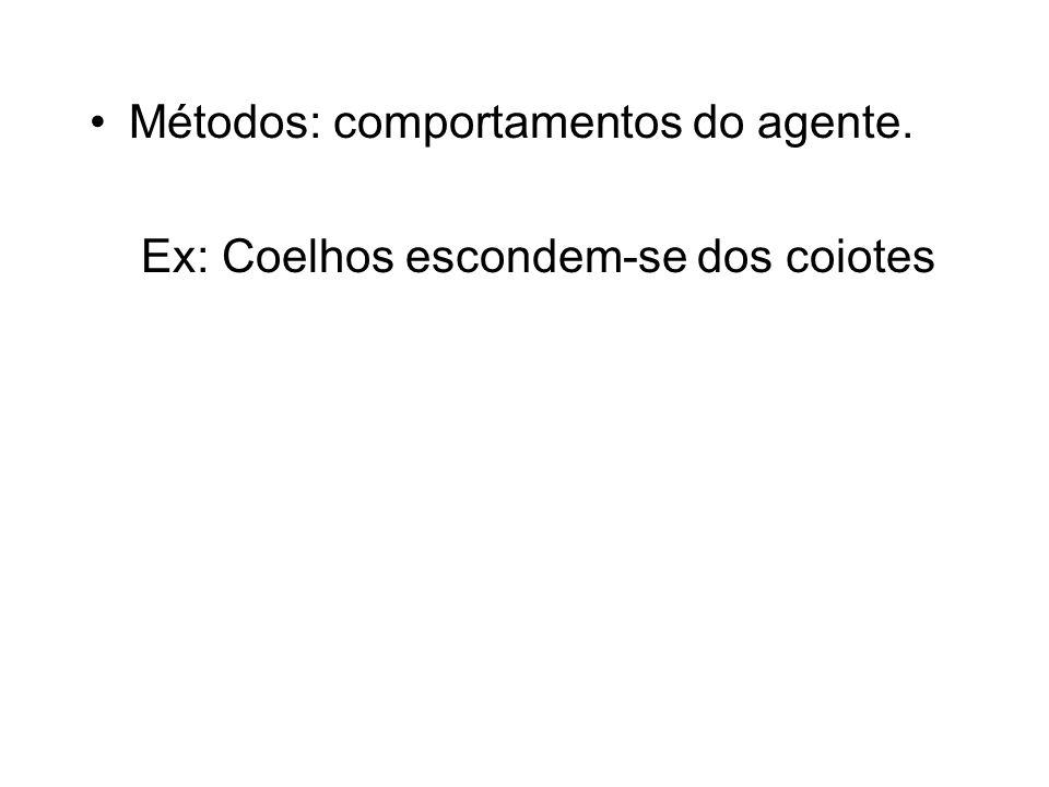 Métodos: comportamentos do agente. Ex: Coelhos escondem-se dos coiotes
