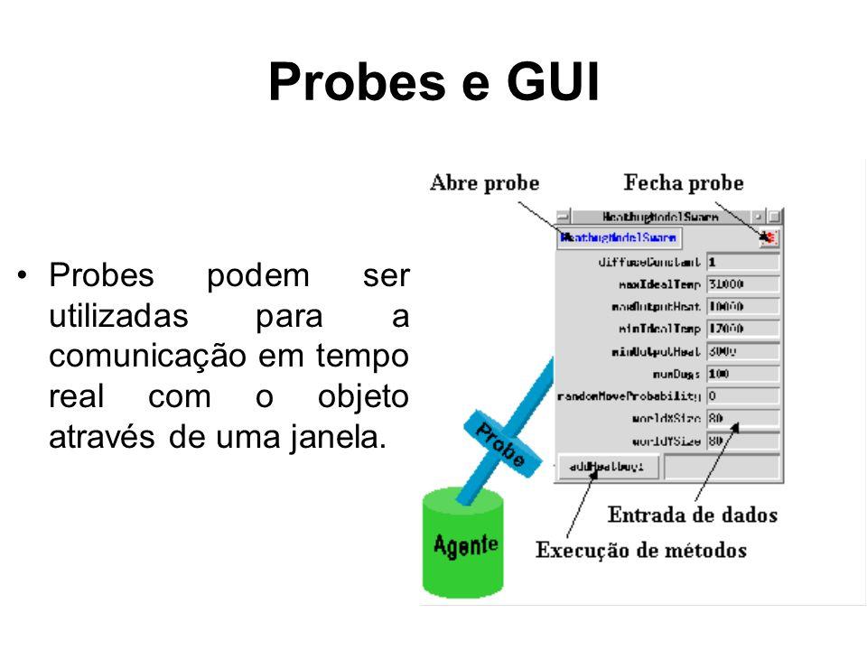 Probes e GUI Probes podem ser utilizadas para a comunicação em tempo real com o objeto através de uma janela.