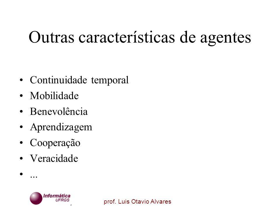 prof. Luis Otavio Alvares Outras características de agentes Continuidade temporal Mobilidade Benevolência Aprendizagem Cooperação Veracidade...