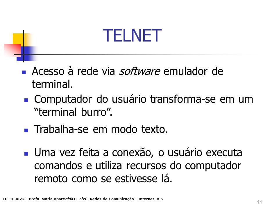 II - UFRGS - Profa. Maria Aparecida C. Livi - Redes de Comunicação - Internet v.5 11 TELNET Acesso à rede via software emulador de terminal. Computado