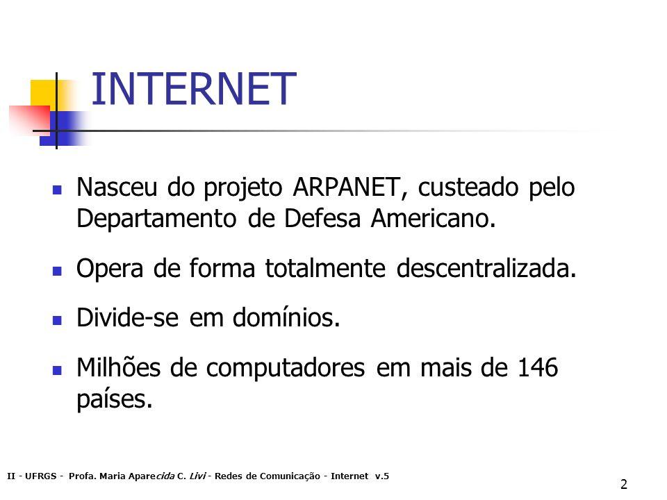 II - UFRGS - Profa. Maria Aparecida C. Livi - Redes de Comunicação - Internet v.5 2 INTERNET Nasceu do projeto ARPANET, custeado pelo Departamento de