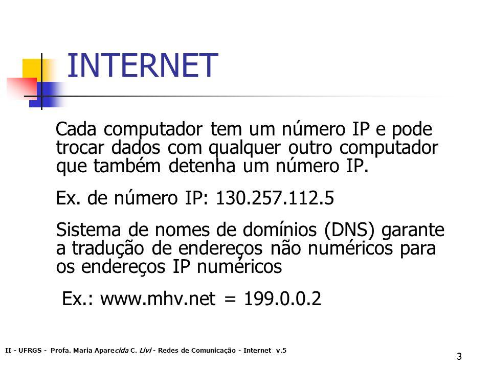 II - UFRGS - Profa. Maria Aparecida C. Livi - Redes de Comunicação - Internet v.5 3 INTERNET Cada computador tem um número IP e pode trocar dados com