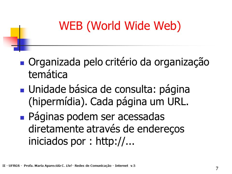 II - UFRGS - Profa. Maria Aparecida C. Livi - Redes de Comunicação - Internet v.5 7 WEB (World Wide Web) Organizada pelo critério da organização temát