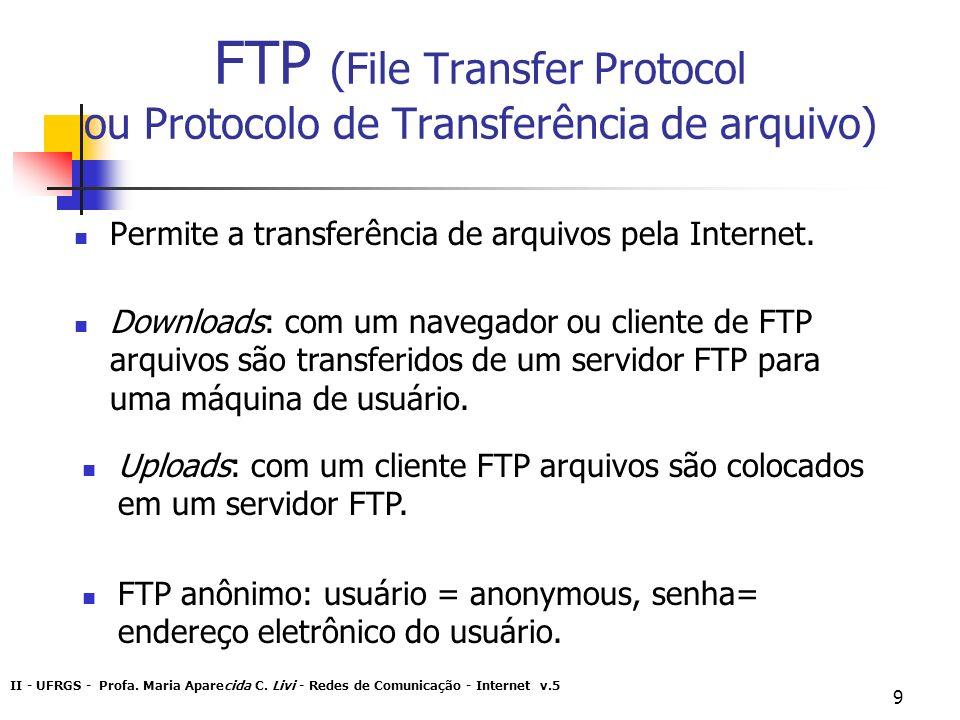 II - UFRGS - Profa. Maria Aparecida C. Livi - Redes de Comunicação - Internet v.5 9 FTP (File Transfer Protocol ou Protocolo de Transferência de arqui