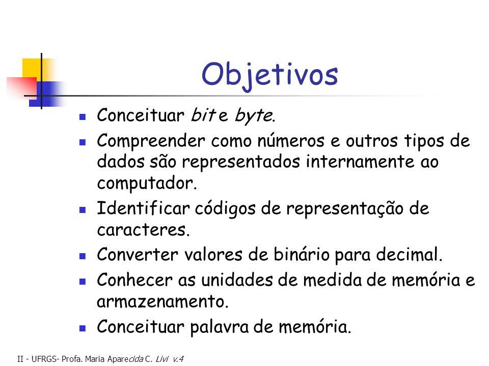 II - UFRGS- Profa.Maria Aparecida C. Livi v.4 Objetivos Conceituar bit e byte.