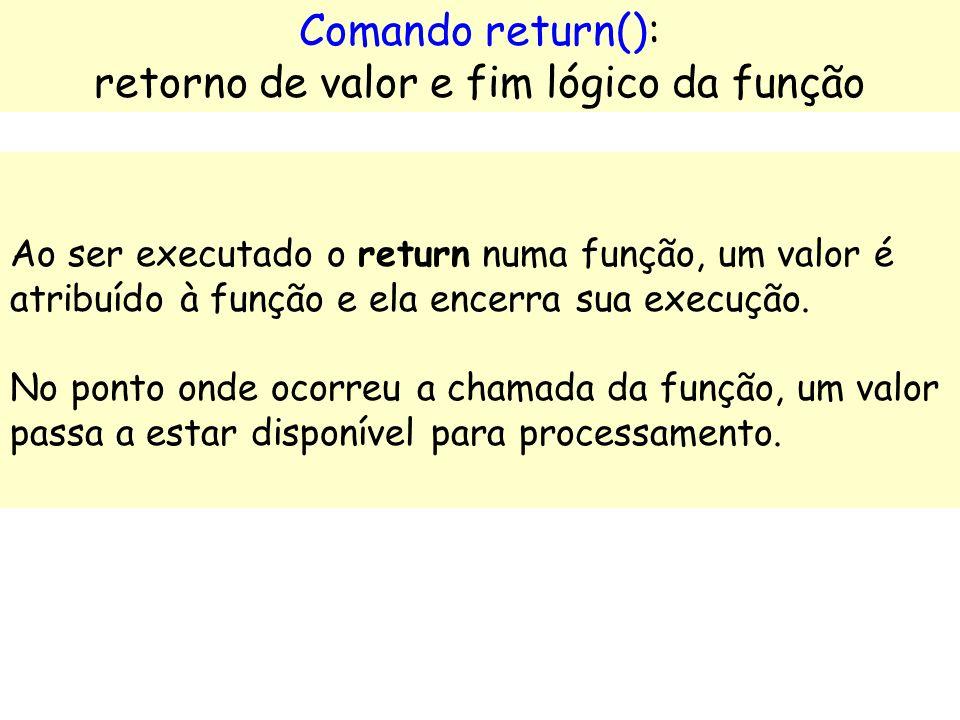 Ex.: soma_valores (int valor1, int valor2) // por falta é inteira void imprime_linhas(int num_lin) void apresenta_menu ( ) float conv_dolar_para_reais