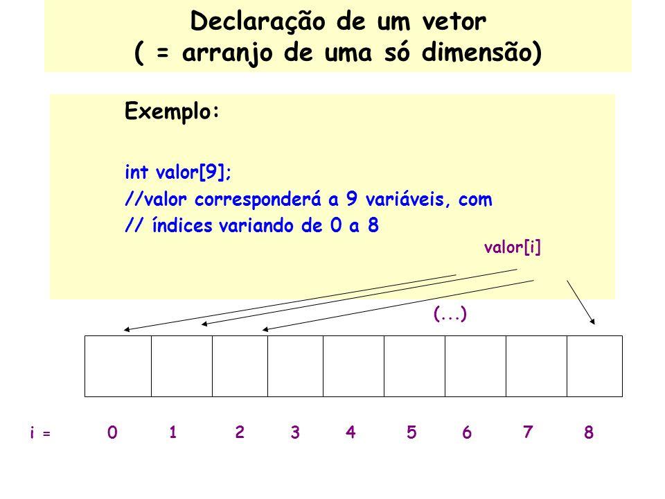 Declaração de um vetor ( = arranjo de uma só dimensão) Exemplo: int valor[9]; //valor corresponderá a 9 variáveis, com // índices variando de 0 a 8 valor[i] 012345678i = (...)
