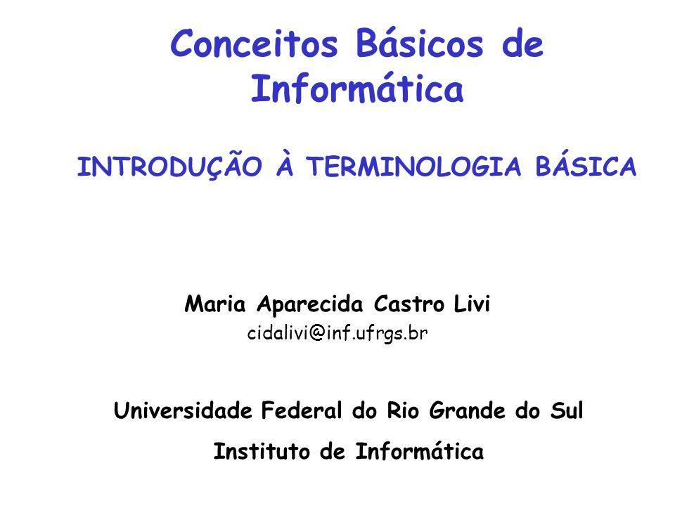 Conceitos Básicos de Informática INTRODUÇÃO À TERMINOLOGIA BÁSICA Maria Aparecida Castro Livi cidalivi@inf.ufrgs.br Universidade Federal do Rio Grande